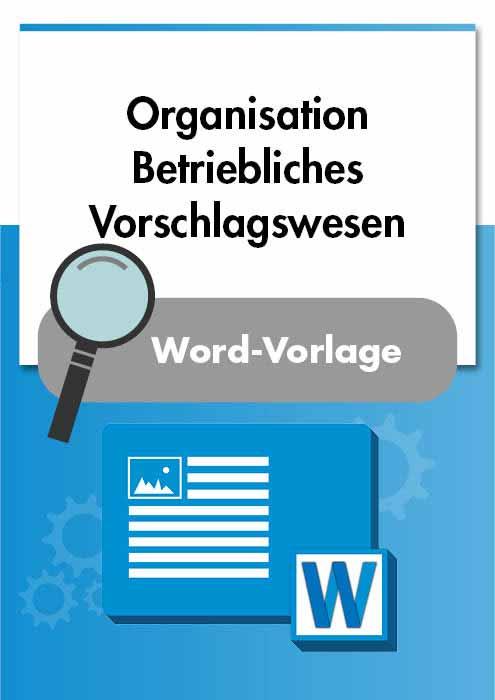 Organisation Betriebliches Vorschlagswesen Vorlage Muster Checkliste